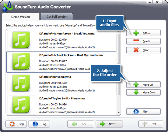 Add audio files to the conversion list