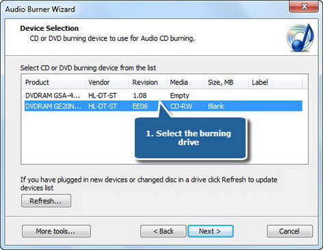 Select usable burning drive
