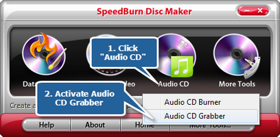 Activate the audio CD ripper
