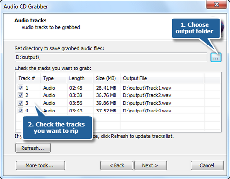 Choose output folder and tracks