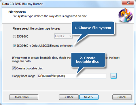 Choose file system