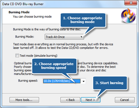 5. Choose burning mode and burning speed